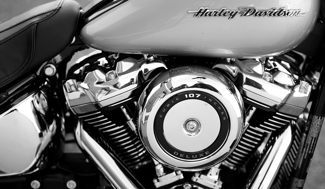 Closeup of Harley-Davidson Tank and Engine